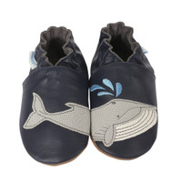 Navy leather soft soled infant shoes with whales