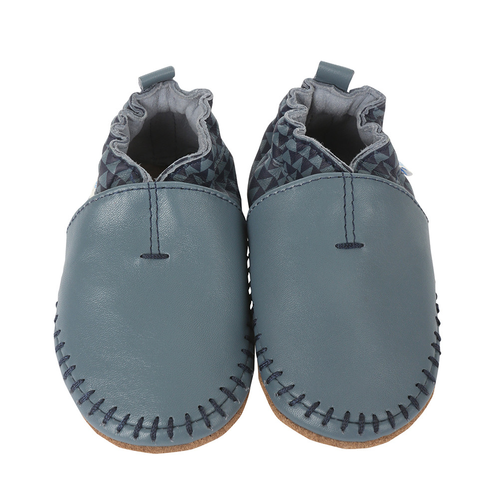 Blue premium soft leather baby shoes with soft soles for babies infants and toddlers ages 0 - 2 years old.