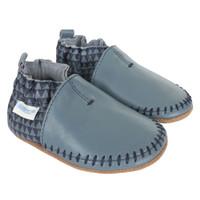 Premium Leather Classic Moccasin, Geo Print, Soft Soles