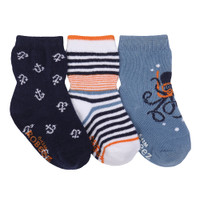 Cotton baby socks in navy, white and blue for ages 0 - 24 months.