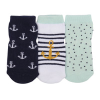 Cotton baby socks with anchors. Ages 0 - 24 months