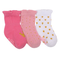 Cotton baby socks in pink and white with gold hearts. Ages 0  to 2 years old