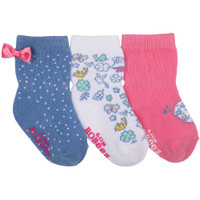Cotton infant socks in blue white  and pink with birds and floral designs.