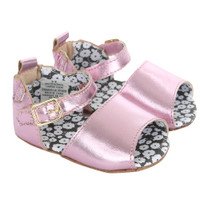 Pink metallic baby sandals for girls ages 0 - 24 months.