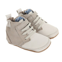 Baby shoes with laces in cream and taupe leather.  Ages 0 -  6 months. Soft Soled with in soles.