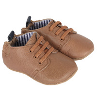Taupe leather lace up baby shoes with soft soles and foam insert