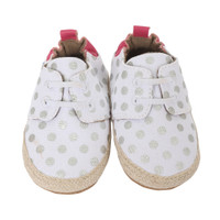 White Canvas soft soled baby shoes with silver polka dots.  Perfect for infants, babies and toddlers.