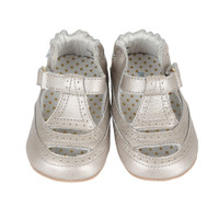 Silver leather t-strap baby girl shoes with rubber sole.  Ages 0 - 2 years old.