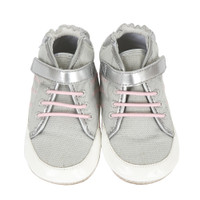 Grey canvas high top sneakers for baby girls with rubber soles.  Sizes 2, 3, 4, 5, and 6 for infants, toddlers and babies.