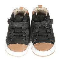 Black leather high top baby sneaker.  These shoes have rubber soles and come in sizes 2 - 6 for infants, babies and toddlers.