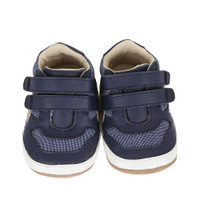 Navy leather and canvas baby shoes that look like sneakers.  This infant shoes come in sizes 2,3, 4, 5, and 6 for infants, babies and toddlers.