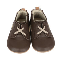 Brown leather infant shoes with faux laces and rubber soles for infants, babies and toddlers sizes 2, 3, 4, 5 and 6.