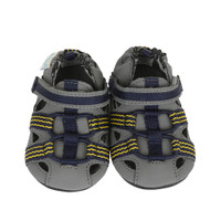 Grey PU baby shoes with PU and rubber sole.  Easy on/ Stay on Functionality.  For Babies, infants and toddlers.  Ages 0 - 2 years.