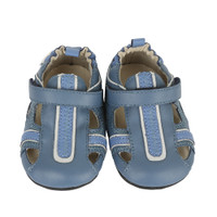 Blue leather infant sandal with rubber sole and hook and loop closure.  Ages 0 - 2 years.