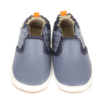 Blue leather baby shoes that look like skate board sneakers.  For babies, infants and toddlers ages 0 - 2 years old, these infant shoes comes in sizes 2, 3, 4, 5 and 6.