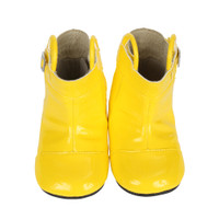 Yellow PU baby boots with rubber outsole.  Sizes 2, 3, 4, 5, 6 for ages 0 - 2 years.  Perfect for infant, baby or toddler girls or boys.