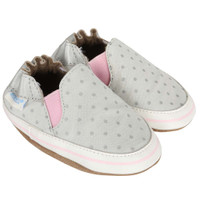 Girls Baby Shoes for ages 0 -24 months.  Grey with Grey polka dots.  Soft Soles.