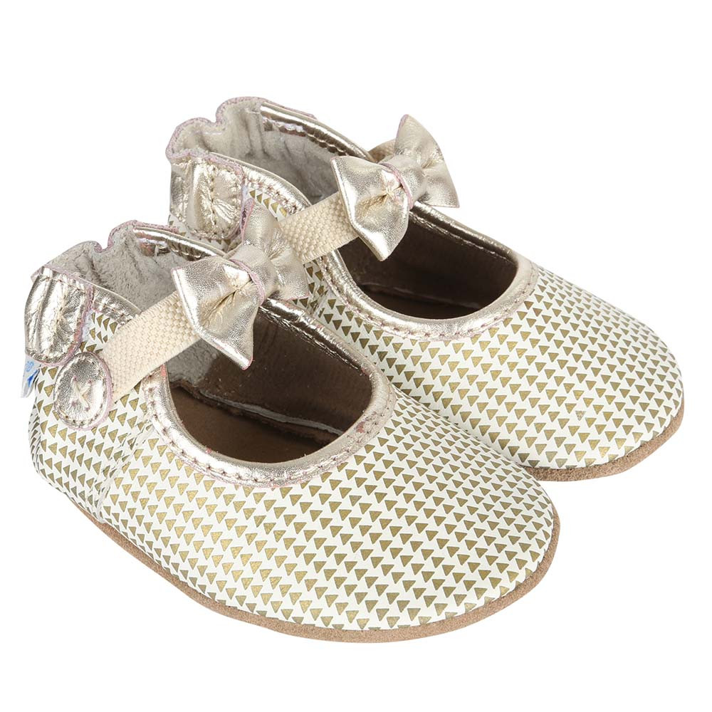 Soft soled girl's baby shoe with triangle print in gold.  For girls, ages 0 -24 months.