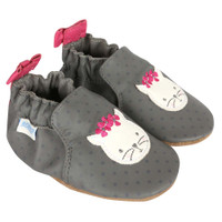 Soft soled baby shoes for baby, infant and toddler girls.  Leather with cat face on toe.