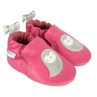 Pink leather shoes for baby, infant and toddler girls, ages 0 -24 months, with bird appliques.