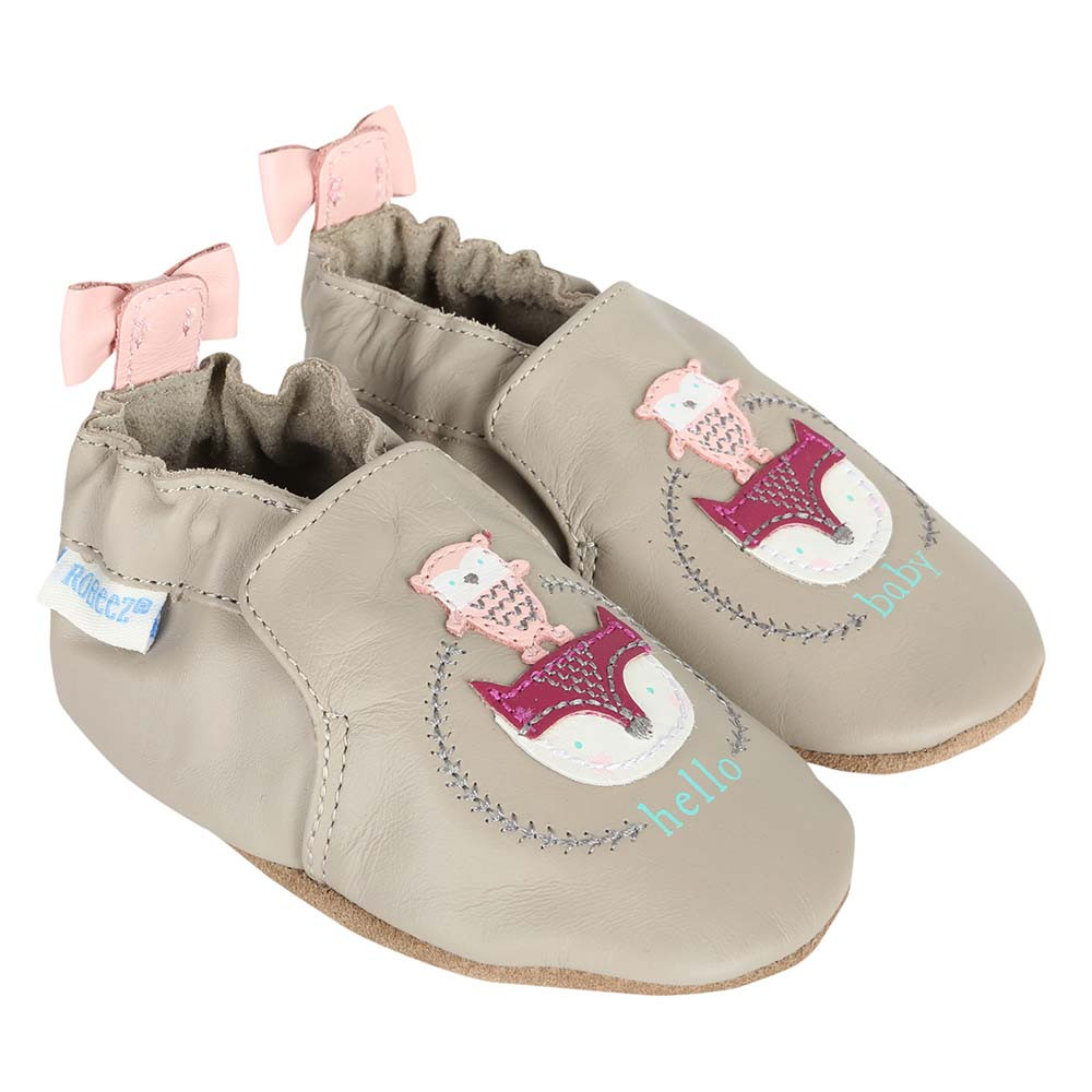 Baby Shoes for girls with animal appliques and pink bows.  Soft Soles for pre-walkers and beginner walkers.