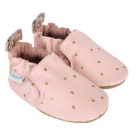 Pink leather, soft soled baby shoes for girls ages 0 - 24 months.  Gold crowns are printed onto the fabric.