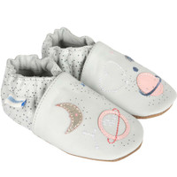 Baby shoes for girls in grey leather with planets.  These soft soled baby shoes are for girls ages 0 - 24 months.