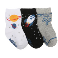 Baby, infant and toddler socks with planets and rocket ships.  Cotton boys' socks, ages 0 -24 months.