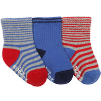 Boys' cotton socks for babies, infants and toddlers.  Blue and Red Stripes.