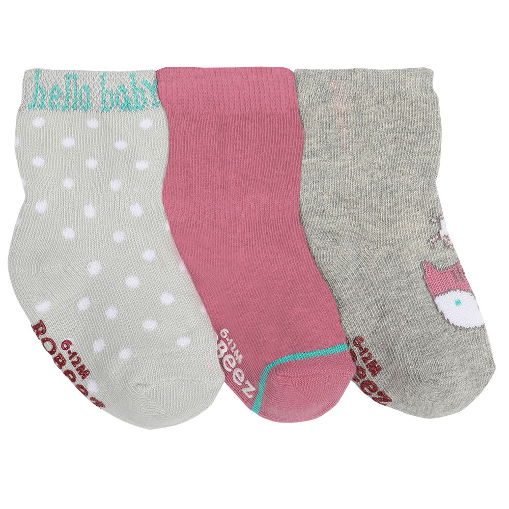 Baby Socks, Fox & Birdie Pals, 3 Pack: Baby Girls | Robeez