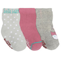 Cotton baby socks for girls in pink and grey.