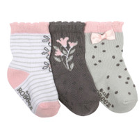 Pink Cotton Socks for baby, infant and toddler girls designed with flowers and bows.