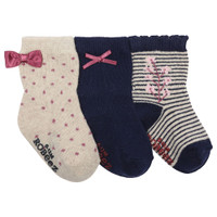 Girls' baby socks in navy and cream.  Cotton infant, baby and toddler socks.