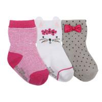 Cotton socks for baby, infant and toddler girls.  Cat face and bows decorate these pink, white and grey socks.