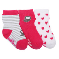 Cotton socks for baby, infant and toddler girls, ages 0 - 24 months.  These baby socks feature birds and hearts.