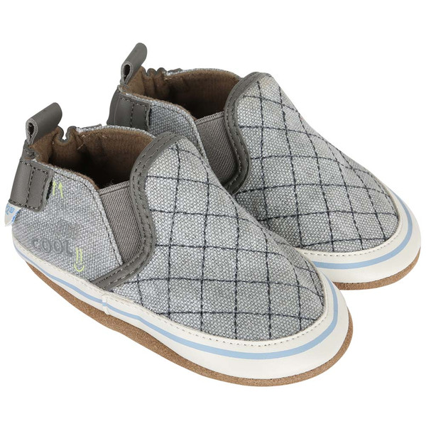 Boys soft soled baby shoes in grey canvas with diagonal pattern.