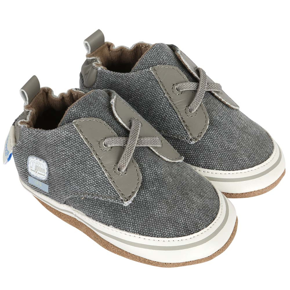 Shoes for babies, infants and toddlers in grey canvas.