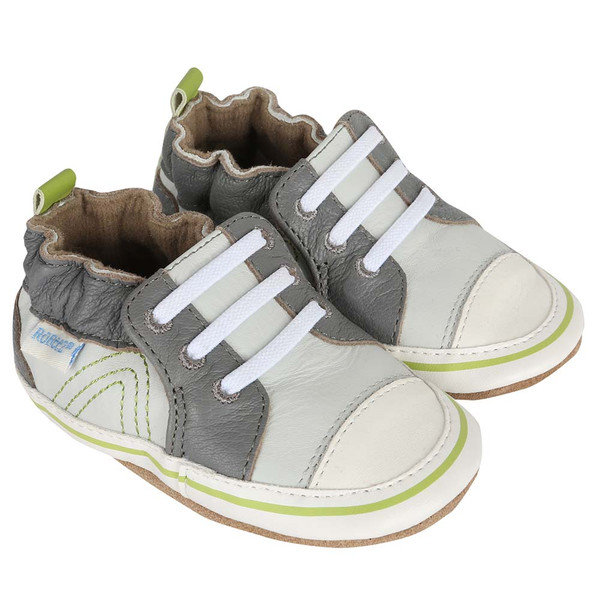 Boys baby shoes in grey leather that look like dad's athletic shoes.