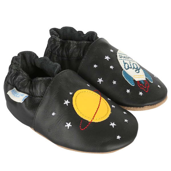 Black leather soft soled baby shoes featuring planets and rockets.