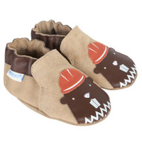 Soft Soled baby shoes in taupe suede featuring beavers