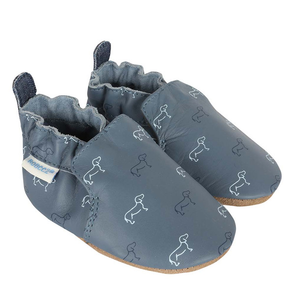 Baby shoes for boys or girls ages 0 - 24 months.  Feature dog pattern on blue leather.