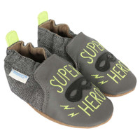 Baby shoes for baby, infant and toddler boys.  Decorated with mask and the words super hero.