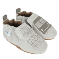 Soft Soled baby shoes  featuring a bus.
