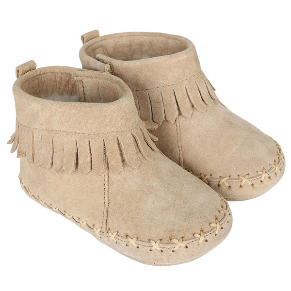 Baby Moccasins for boys and girls in taupe suede.  Soft Soles.