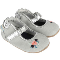 Grey suede shoes for baby girls with flower embroidery. Ages 0 - 24 months. Mini Shoez.