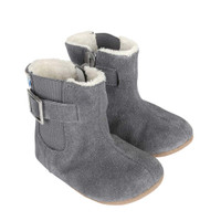 Baby Boots for Girls in grey suede with side zipper.  Faux fur trim.