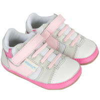 Girls baby shoes in white and pink leather. Designed to look like mom's athletic sneaker.