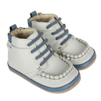 Grey leather baby shoes for boys.  Mini Shoez