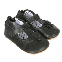 Black leather baby shoes for girls with shoe like fit and soft soles.  Side view