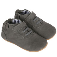 Boys baby shoes in grey leather with faux laces. First Kicks have soft soles but shoe like fit.
